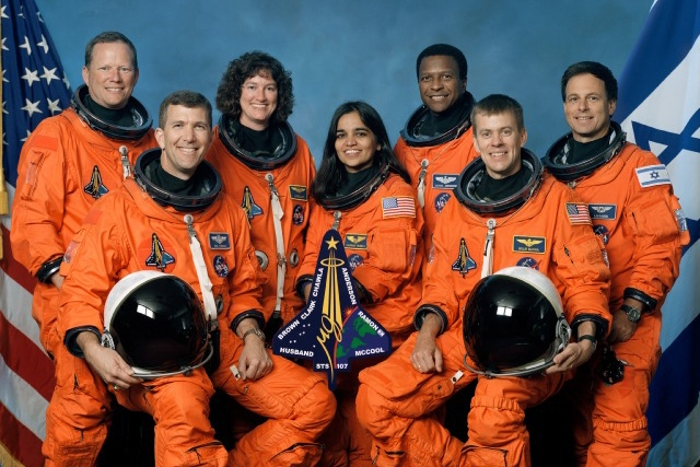 Space Shuttle and Crew Lost During Re-Entry left to right, David M. Brown, Rick D. Husband, Laurel B. Clark, Kalpana Chawla, Michael P. Anderson, William C. McCool, and Ilan Ramon (Credit: STS-107 Crew, NASA)