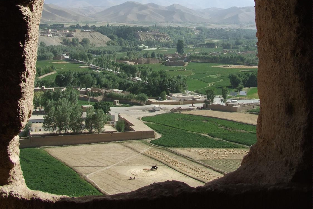 AFGHANISTAN: View of surrounding farmlands from within the caves at the 'Large Buddha' in Bamyan (Photo Credit: Central Intelligence Agency (CIA) - The World Factbook)