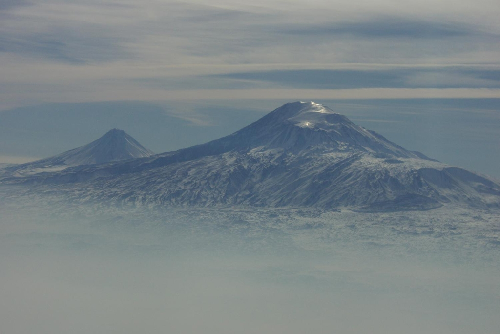 ARMENIA: A view of Mount Ararat in western Turkey through the fog...the dormant volcano dominates the skyline of Yerevan, Armenia's capital (Photo Credit: Central Intelligence Agency (CIA) - The World Factbook)