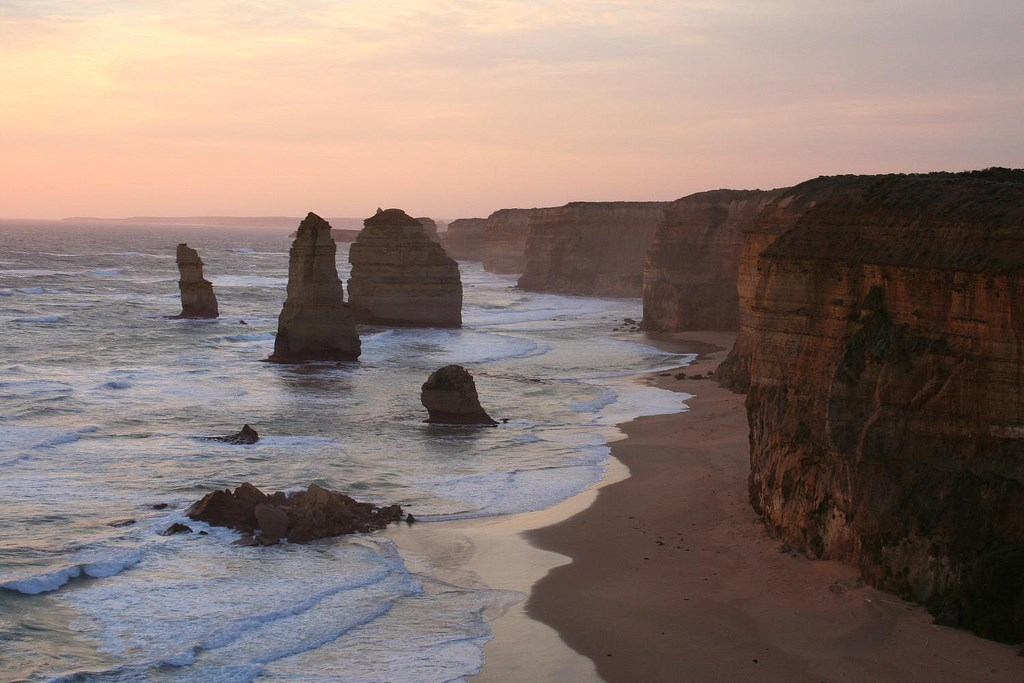 AUSTRALIA: Sunset over the limestone stacks known as The Twelve Apostles, Port Campbell National Park, Victoria (Photo Credit: Central Intelligence Agency (CIA) - The World Factbook)